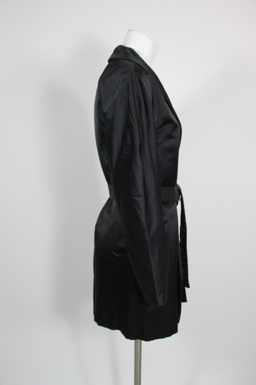 Halston 1970s Black Satin Smoking Style Evening Jacket 5
