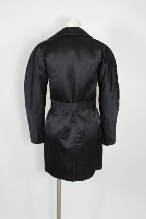 Halston 1970s Black Satin Smoking Style Evening Jacket 6