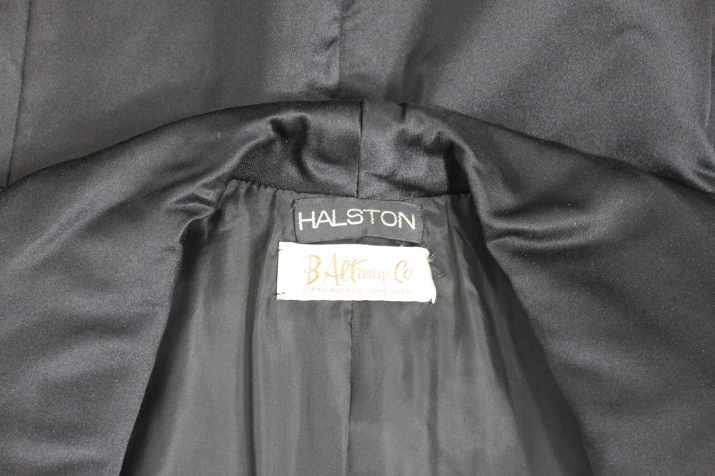 Halston 1970s Black Satin Smoking Style Evening Jacket 7