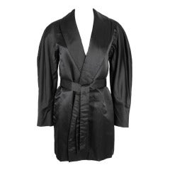 Halston 1970s Black Satin Smoking Style Evening Jacket