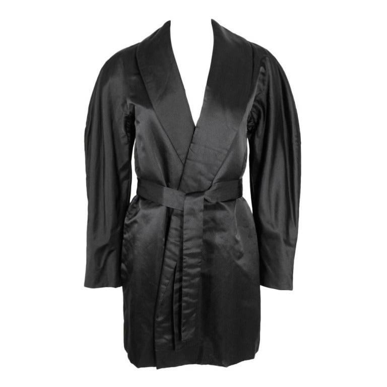 Halston 1970s Black Satin Smoking Style Evening Jacket 1