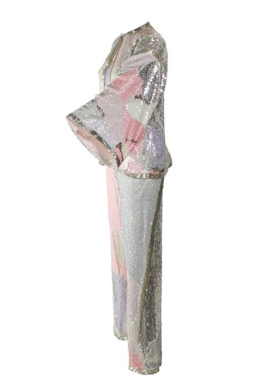 Halston 1980s Pastel Sequin Three-Piece Set 3