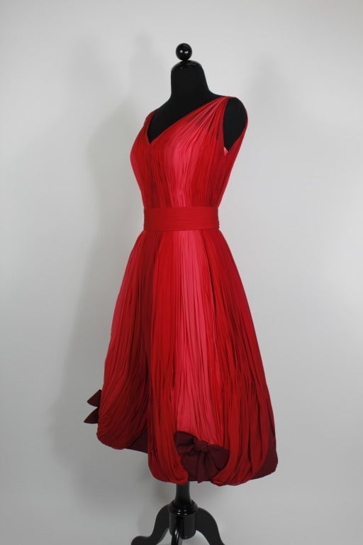 1960s Sophie of Saks Ombrè Rosy Pink Party Dress with Bows image 4