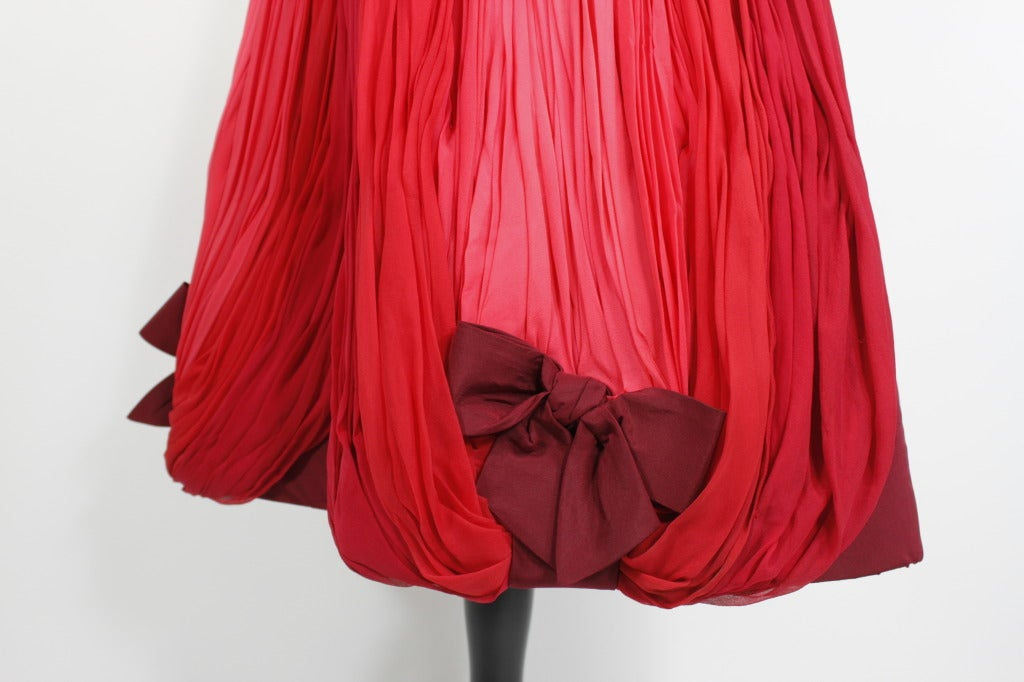 1960s Sophie of Saks Ombrè Rosy Pink Party Dress with Bows 9