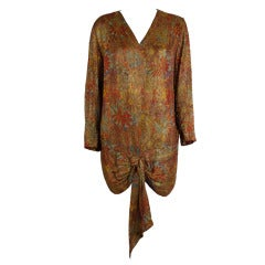 1920s Autumnal Floral Lamé Long Sleeve Tunic