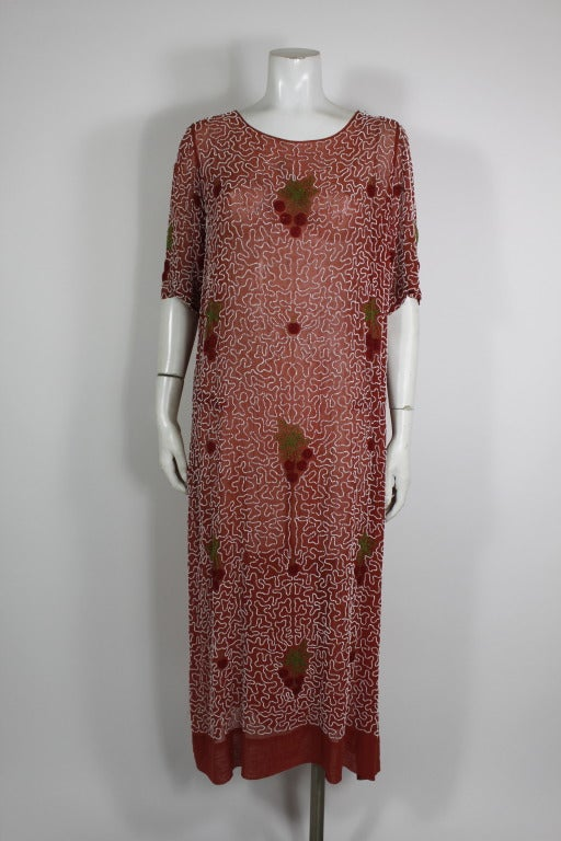1920s Red Beaded Cotton Dress with Cherry Motif 2