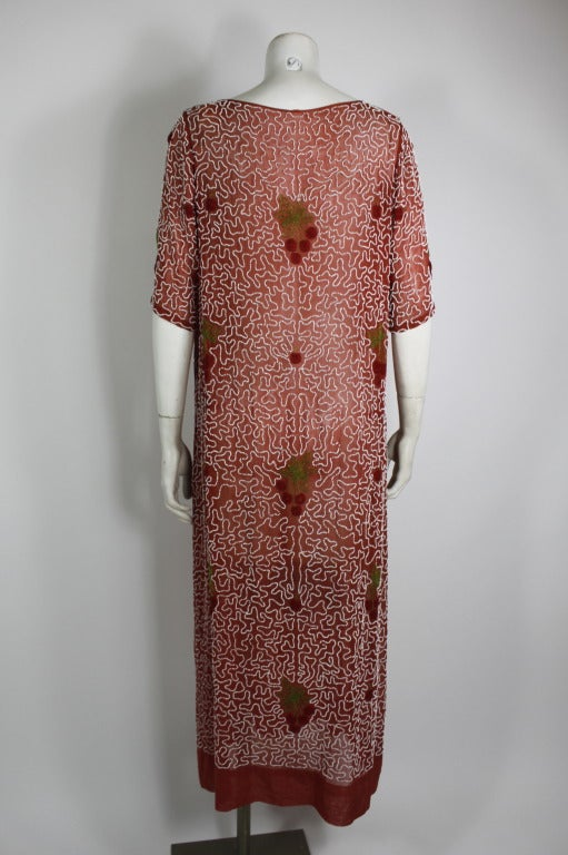 1920s Red Beaded Cotton Dress with Cherry Motif 3