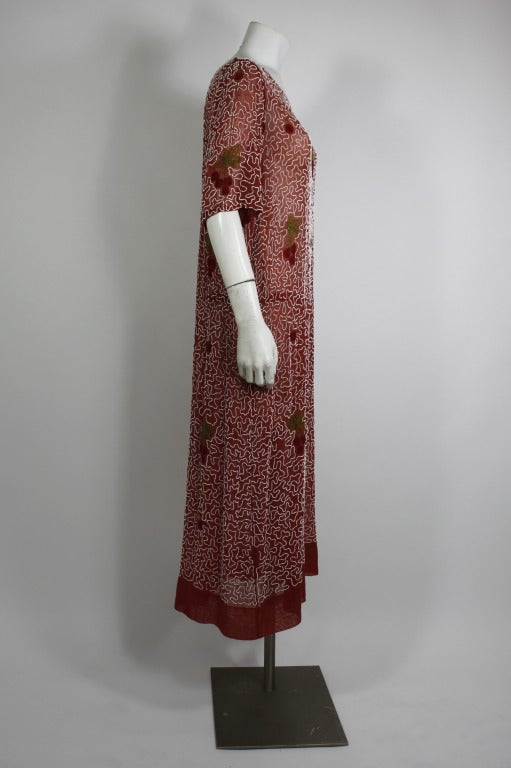 1920s Red Beaded Cotton Dress with Cherry Motif 4