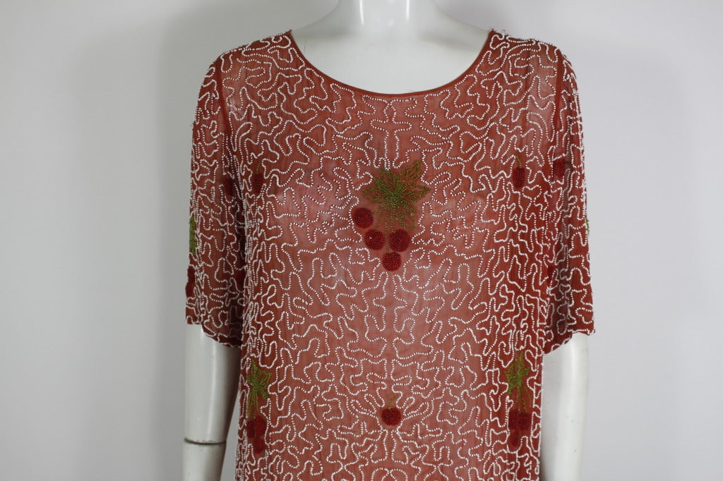 1920s Red Beaded Cotton Dress with Cherry Motif 5