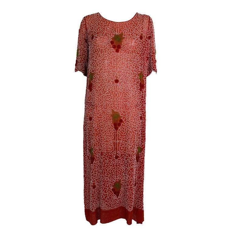 1920s Red Beaded Cotton Dress with Cherry Motif 1