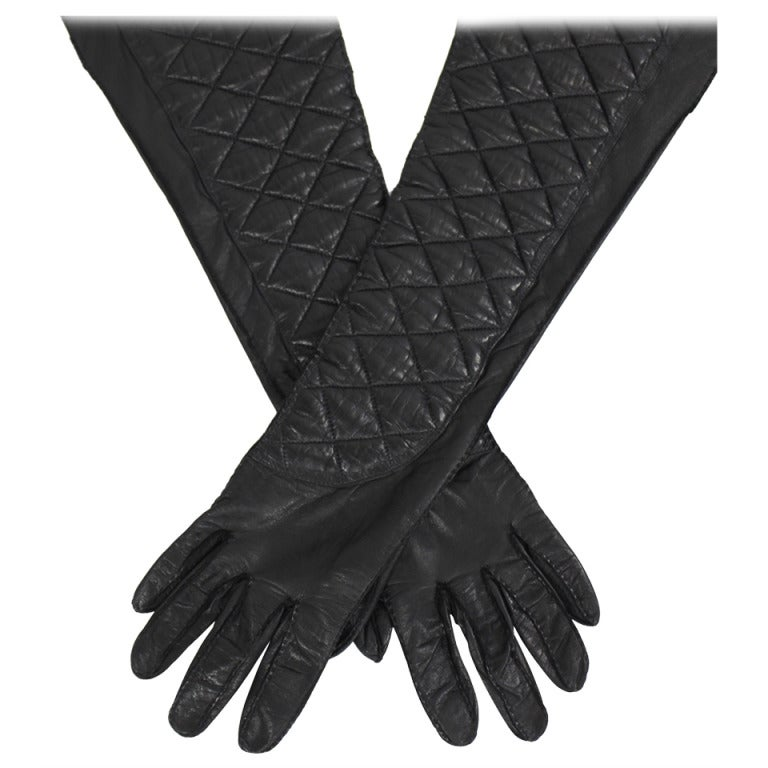 CHANEL Black Leather Quilt Stitched Opera Gloves, Size 7.5 1