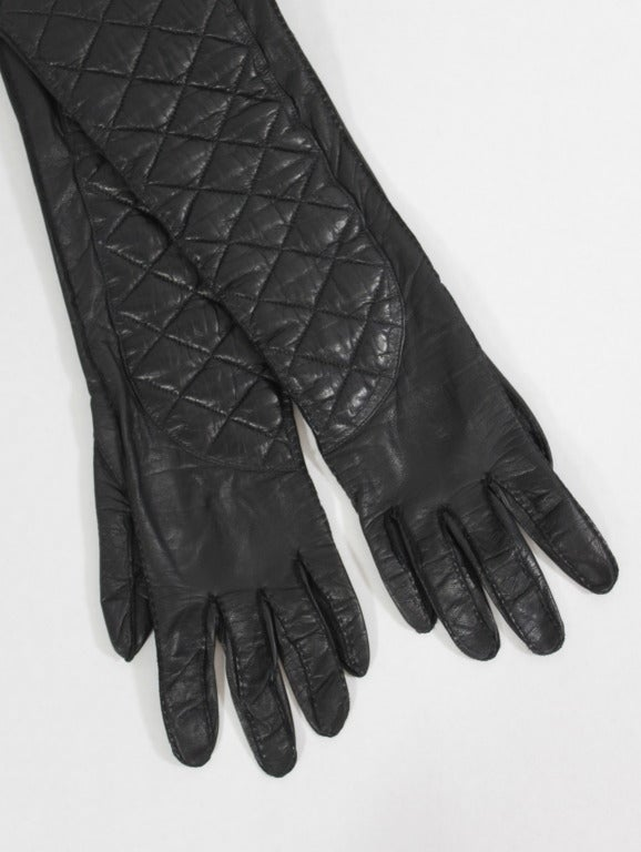CHANEL Black Leather Quilt Stitched Opera Gloves, Size 7.5 2