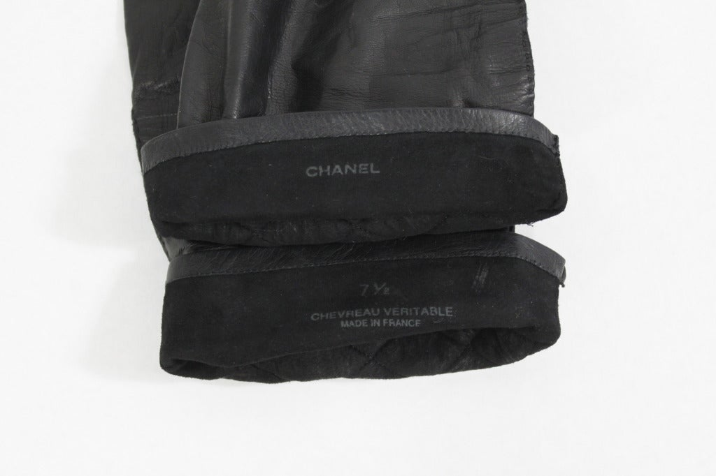 CHANEL Black Leather Quilt Stitched Opera Gloves, Size 7.5 3