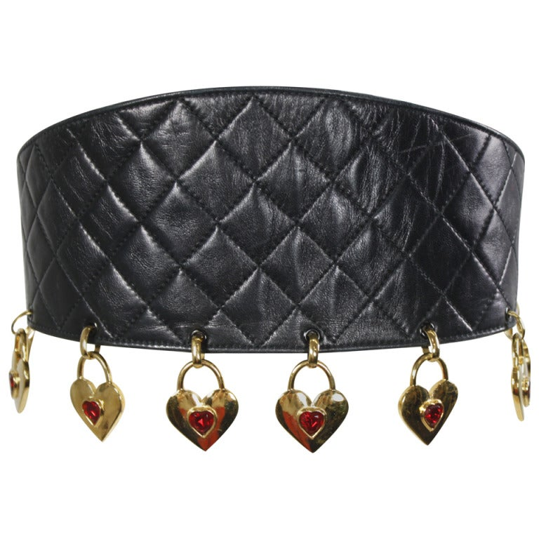 CHANEL Black Leather Quilted Belt with Golden Heart Charms 1