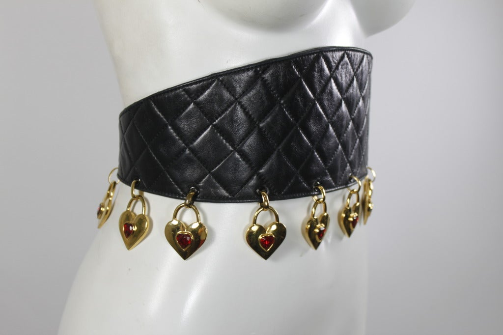 CHANEL Black Leather Quilted Belt with Golden Heart Charms 2