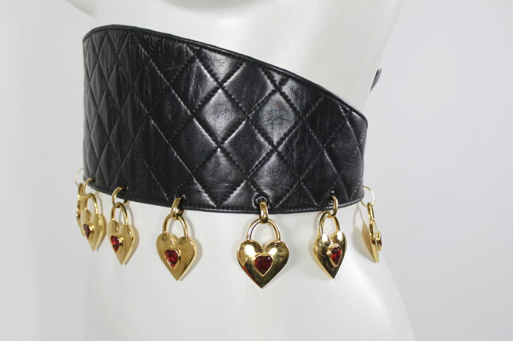 CHANEL Black Leather Quilted Belt with Golden Heart Charms 3