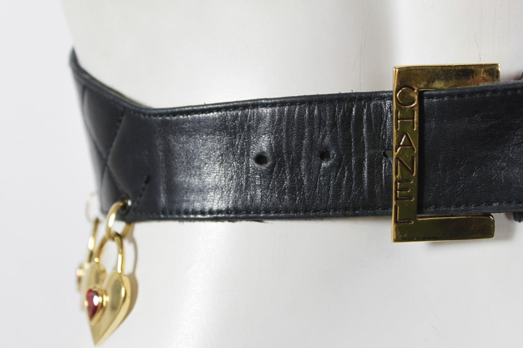 CHANEL Black Leather Quilted Belt with Golden Heart Charms 7