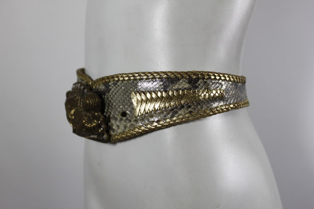 Cesar Ugarte 1980s Goddess Brass & Rhinestone Belt Buckle w/ Two Leather Straps 6