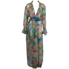 Galanos 1970s Chiffon Watercolor Floral Sheer Caftan with Belt