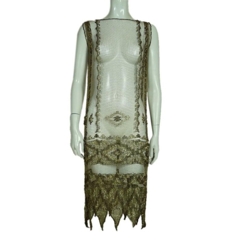 1920's Metallic Filet Lace Dress in Coptic Design 1