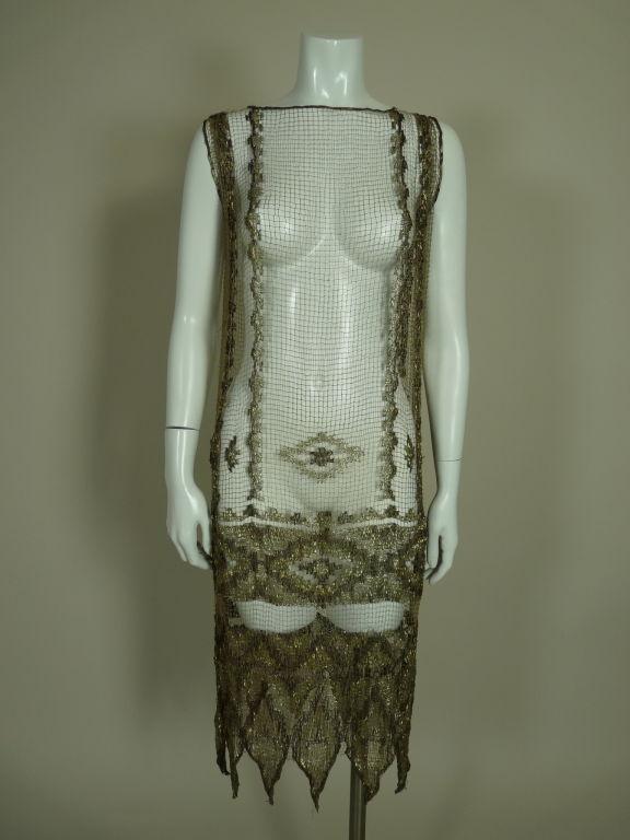 1920's Metallic Filet Lace Dress in Coptic Design 2