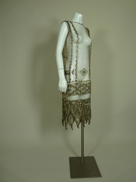 1920's Metallic Filet Lace Dress in Coptic Design 3