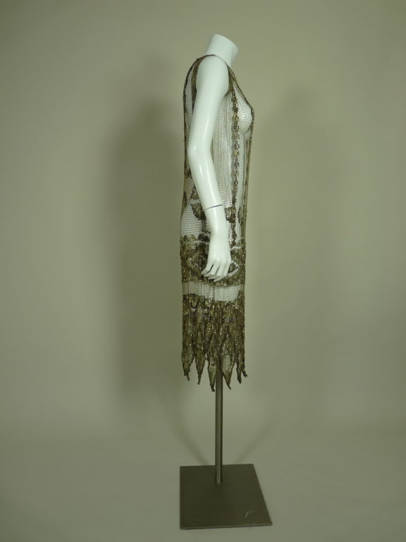 1920's Metallic Filet Lace Dress in Coptic Design 4