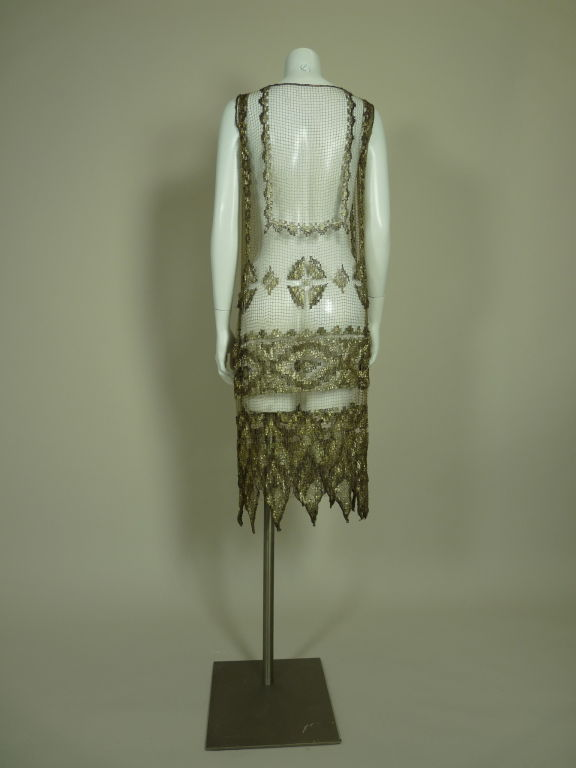 1920's Metallic Filet Lace Dress in Coptic Design 5