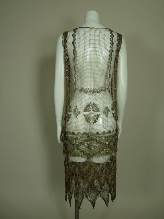 1920's Metallic Filet Lace Dress in Coptic Design 6