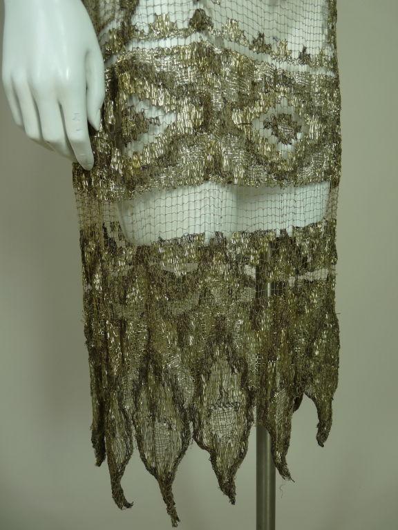 1920's Metallic Filet Lace Dress in Coptic Design 7