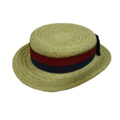 Chanel Straw Boater Hat thumbnail 1