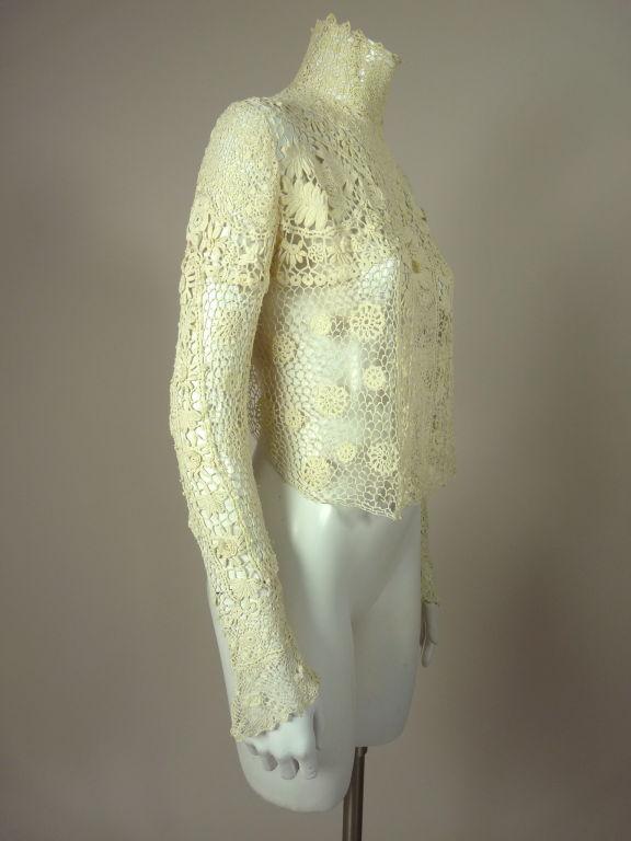 Victorian High Collar Irish Crochet Blouse 2