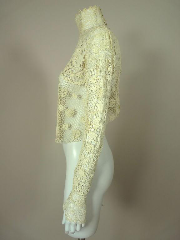 Victorian High Collar Irish Crochet Blouse 4