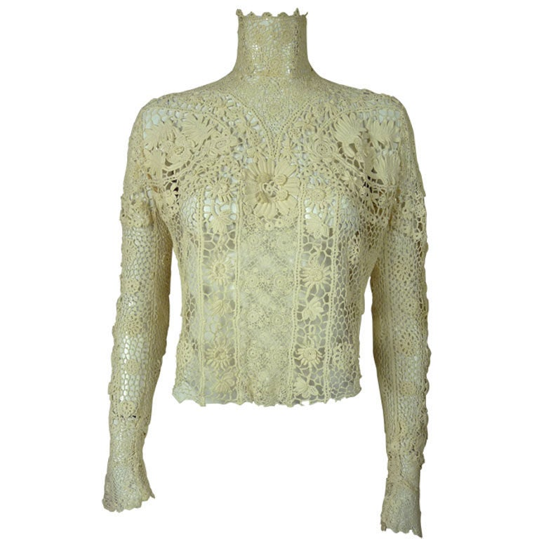 Victorian High Collar Irish Crochet Blouse 1