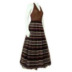 Christian Dior 1980s Chocolate Brown Halter Gown