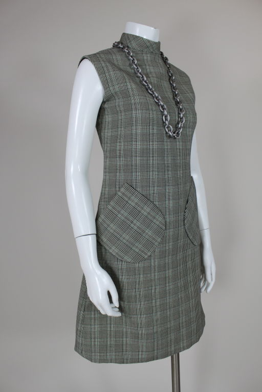 1960's Bill Blass Houndstooth Plaid Shift Dress image 2