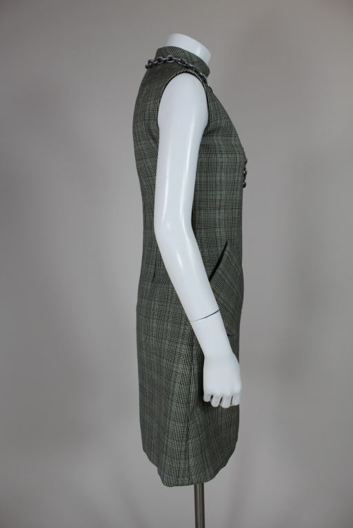 1960's Bill Blass Houndstooth Plaid Shift Dress image 3