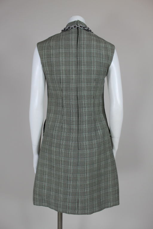 1960's Bill Blass Houndstooth Plaid Shift Dress image 4
