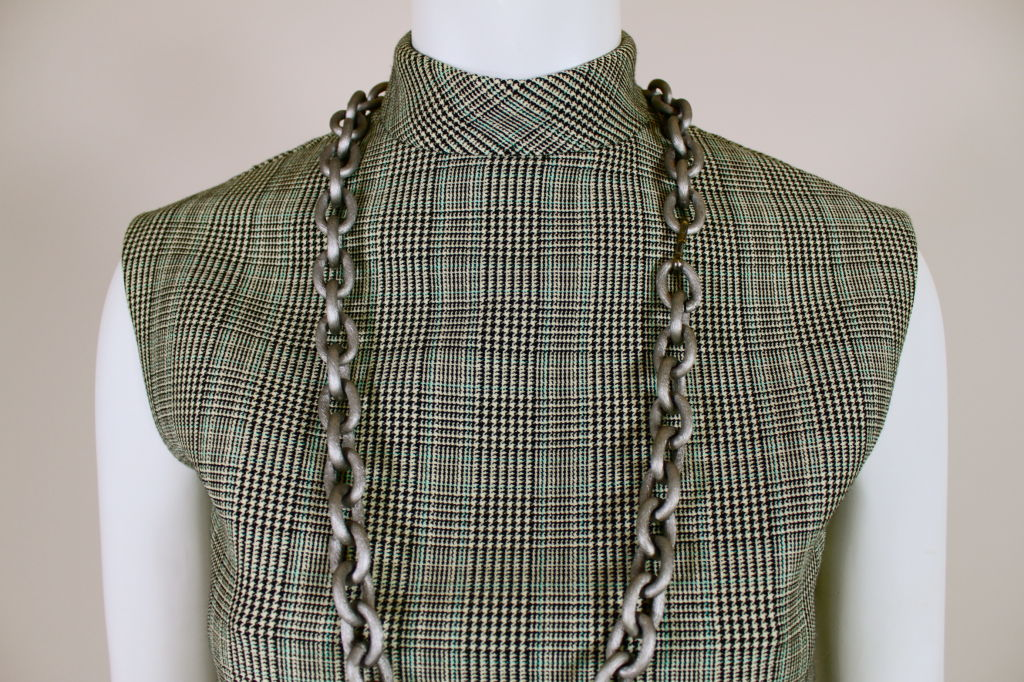 1960's Bill Blass Houndstooth Plaid Shift Dress image 5