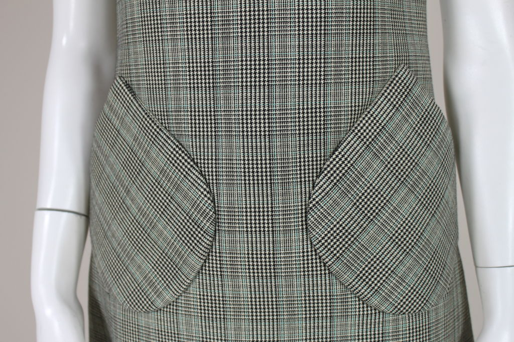 1960's Bill Blass Houndstooth Plaid Shift Dress image 6