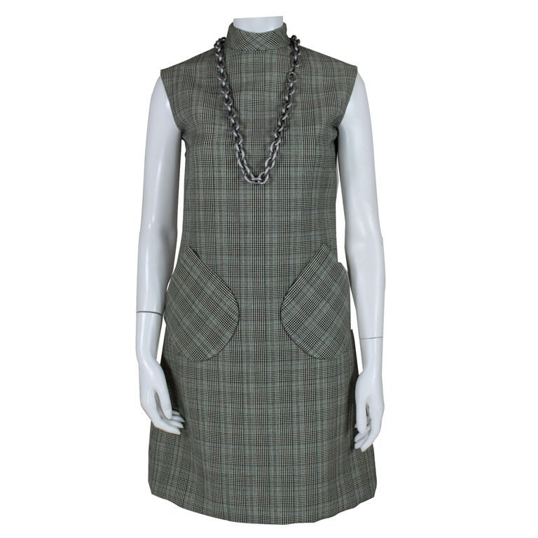 1960's Bill Blass Houndstooth Plaid Shift Dress