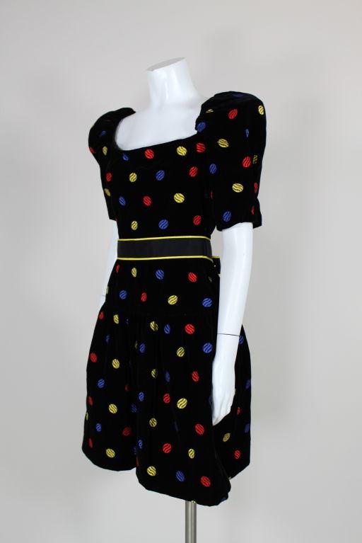 Arnold Scaasi 1980s Polka Dot Velveteen Dress 3