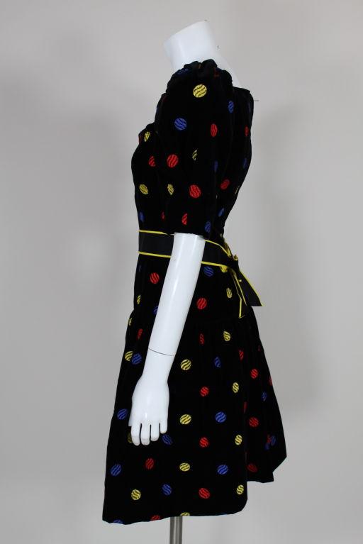 Arnold Scaasi 1980s Polka Dot Velveteen Dress 4