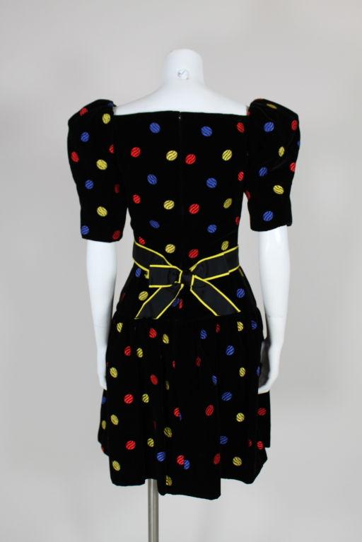 Arnold Scaasi 1980s Polka Dot Velveteen Dress 5