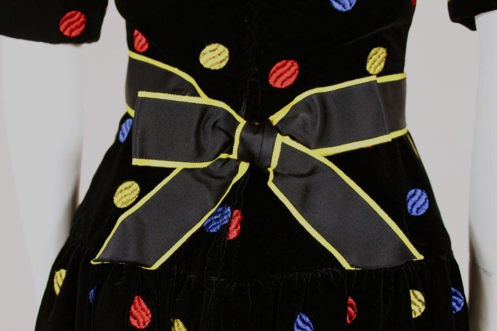 Arnold Scaasi 1980s Polka Dot Velveteen Dress 6