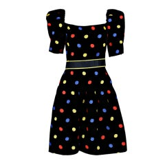 Arnold Scaasi 1980s Polka Dot Velveteen Dress
