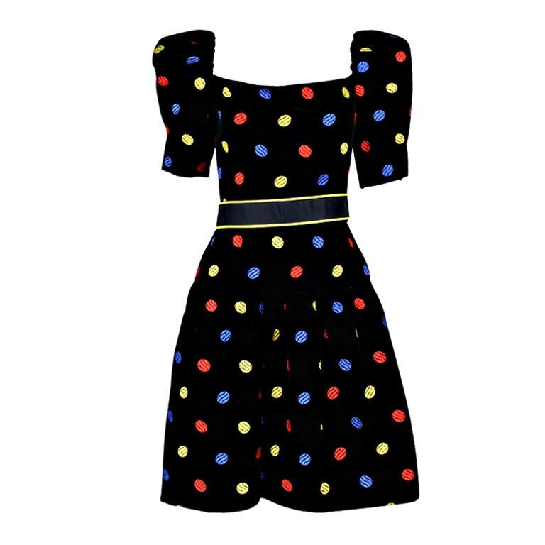 Arnold Scaasi 1980s Polka Dot Velveteen Dress 1