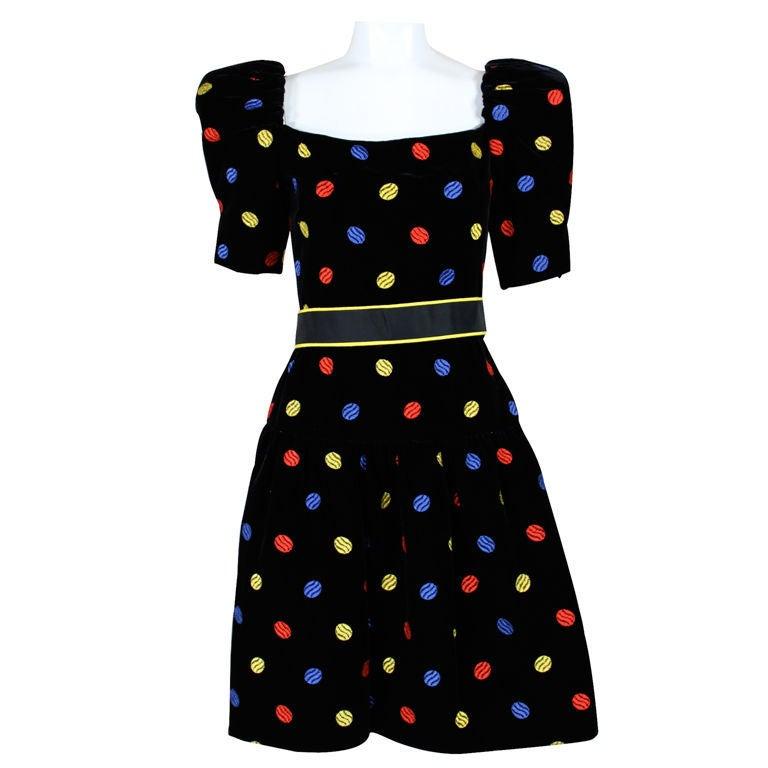 Arnold Scaasi 1980s Polka Dot Velveteen Dress 2