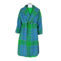 Bonnie Cashin Green & Blue Plaid Wool Ensemble