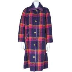 Bonnie Cashin Plaid Wool Coat